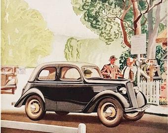 Vintage advert for Ford motor car