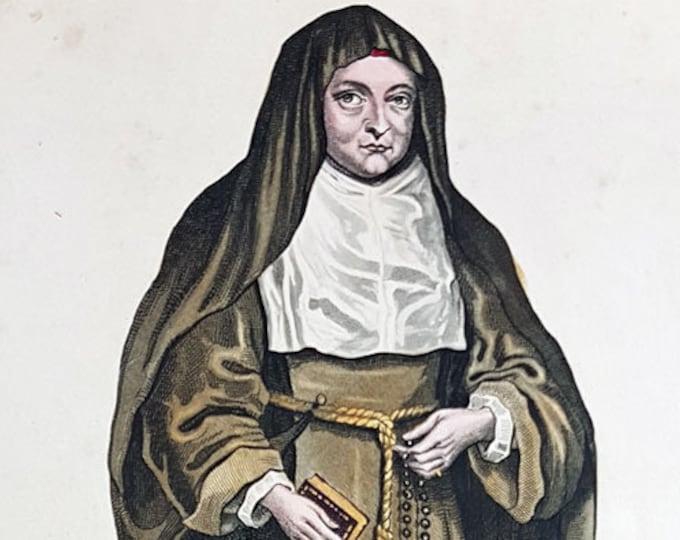 Hand-coloured aquatint of Isabella Clara Eugenia