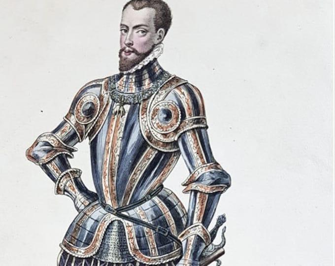 Hand-coloured aquatint of Philip II of Spain