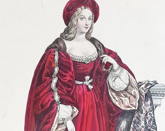 Hand-coloured aquatint of Joan of Aragon
