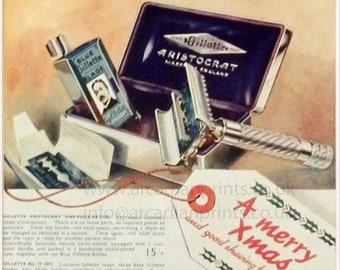 Vintage advertising print: Gillette Aristocrat razor, Christmas ad