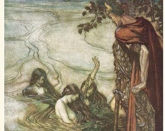 Vintage Arthur Rackham print from Wagner's Twilight of the Gods