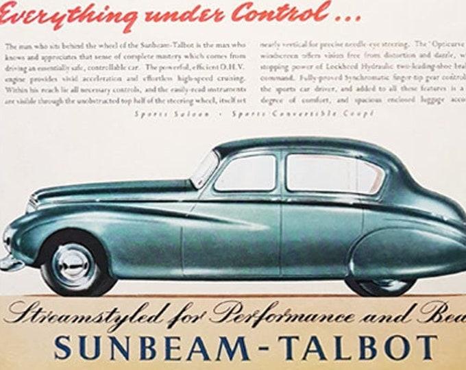 Vintage advertising print: Sunbeam Talbot car