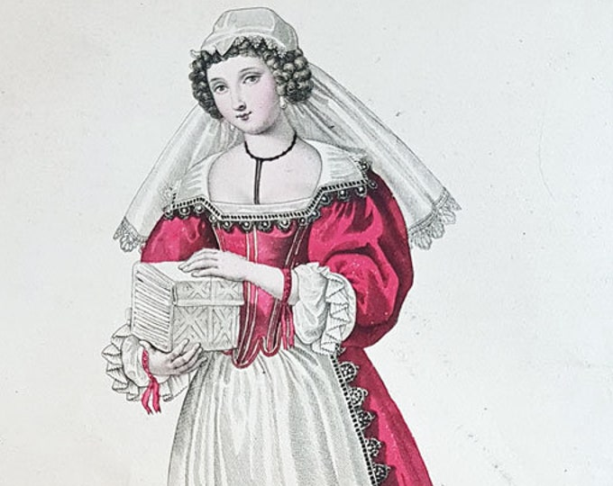 Fashion hand-coloured aquatint of a court laundress to Anne of Austria