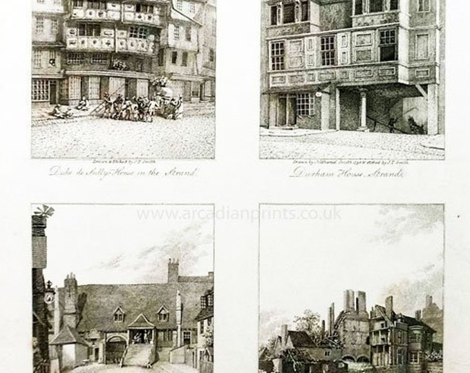 4 copper engravings of London Buildings, 1804, by J T Smith