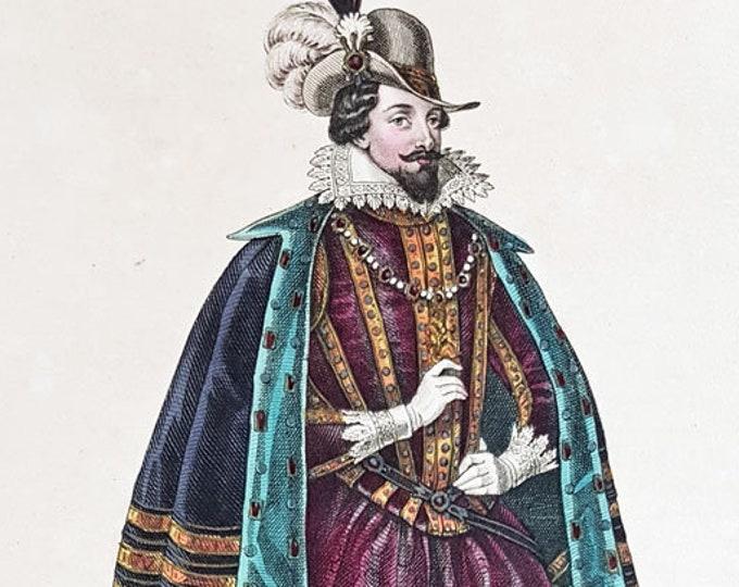 Hand-coloured aquatint of James I