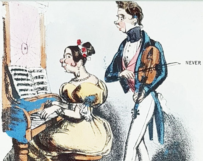 """Antique stone lithograph, """"Lor! How delightfully you sing"""""""