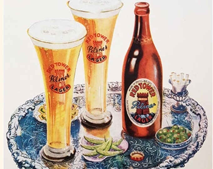 Red Tower Pilsner Lager vintage advertisement