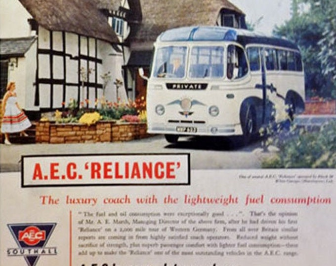 Vintage advertising print: AEC Reliance Coach