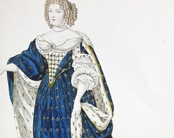 Fashion hand-coloured aquatint of Maria Theresa, Queen of France