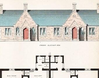 Vintage 19th century architectural design for labourers/mechanics' cottages