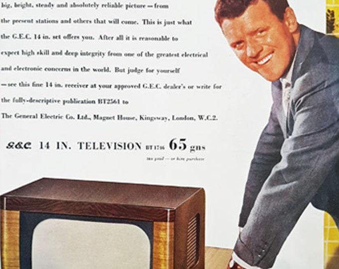 GEC vintage advertisement, featuring Eamonn Andrews