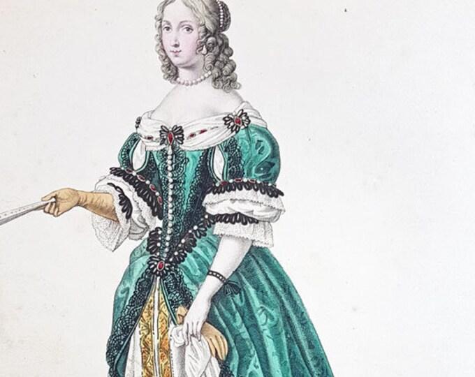 Fashion hand-coloured aquatint of Henrietta Maria, Duchess of Orleans