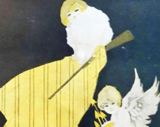 Vintage humorous art deco print from Pan Magazine: Hunting