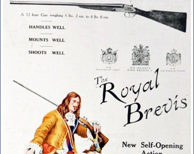 Vintage advertising print: The Royal Brevis hunting rifle, rare