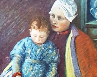 Mere et enfant, vintage print from a painting by Carl Cuttler