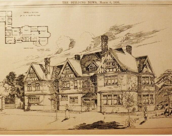 Antique architectural print, house at Sutton