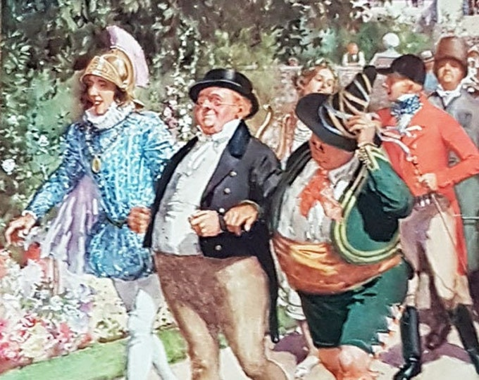 Vintage print: Mrs Leo Hunter's party, from The Pickwick Papers by Charles Dickens.