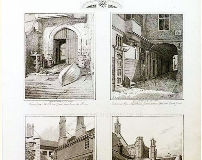 4 copper engravings of London yards, 1804, by J T Smith