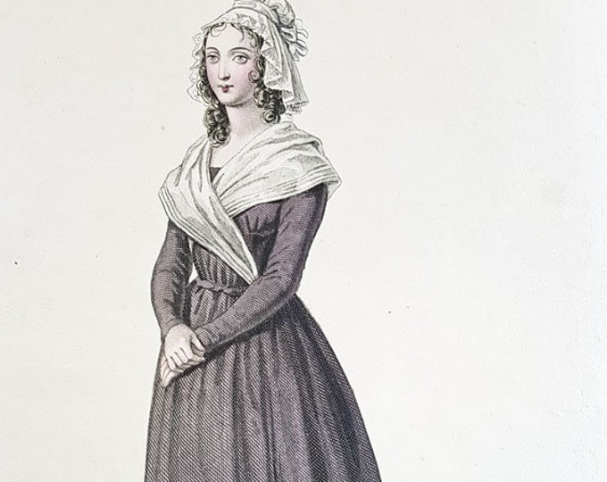 Hand-coloured aquatint of Charlotte Corday, French Revolution