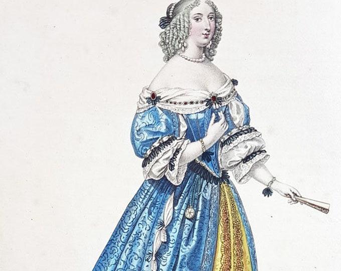 Fashion hand-coloured aquatint of Mlle de Montpensier, Anne-Marie-Louise d'Orleans