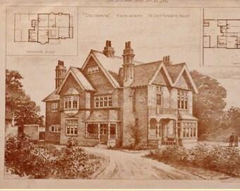 Antique architectural print, Kenilworth, UK