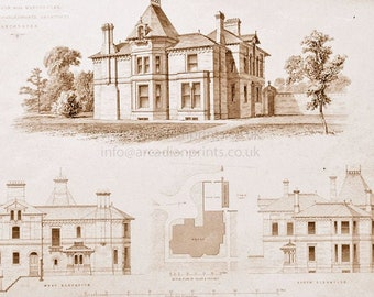 Antique architectural print, Barlow Moor near Manchester