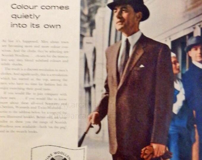 Vintage fashion advert for Scottish Woollens