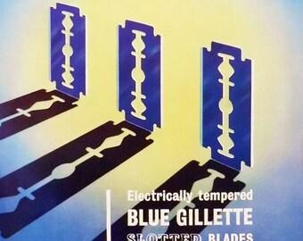 Vintage advert for Gillette slotted blades