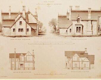 Antique architectural print, Peebles, Scotland