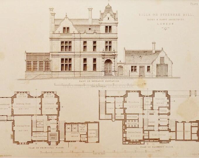 Antique architectural print, Villa on Sydenham Hill