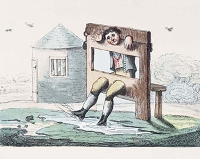 Dabbling in the Stocks, hand coloured copper engraved caricature