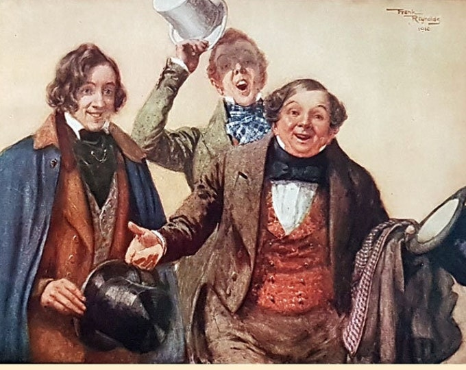Vintage print: The Pickwickians, from The Pickwick Papers by Charles Dickens.