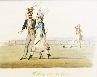 """Rare hand coloured copper engraving. """"Walking the Course"""""""