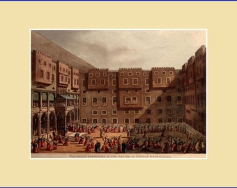 Mamalukes exercising in the square of Murad Bey's Palace, by Luigi Meyer; aquatint with original hand colouring
