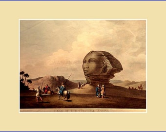 Head of the Colossal Sphinx, by Luigi Meyer; aquatint with original hand colouring