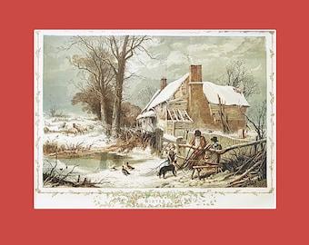"Antique Christmas print, ""Winter"""
