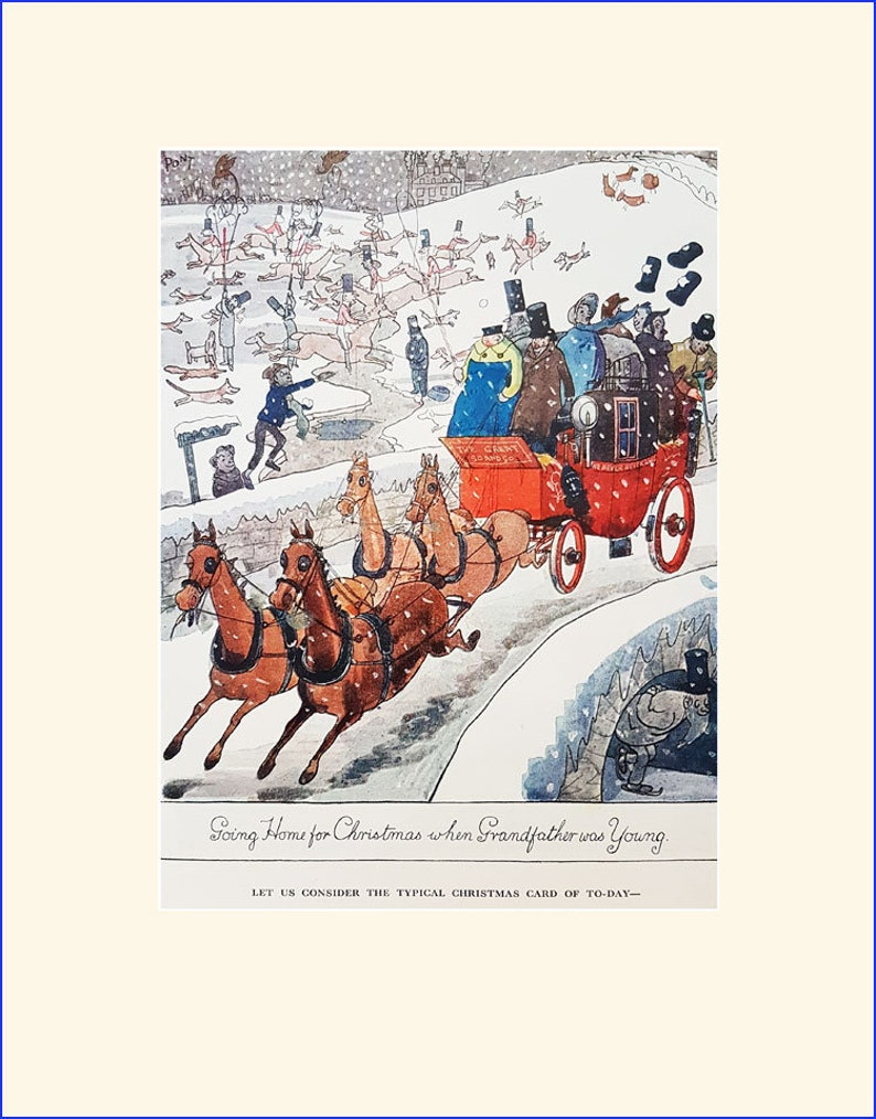 2 Christmas cartoons illustrated by Pont Vintage Punch