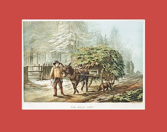 """Antique Christmas print, """"The Holly Cart"""""""