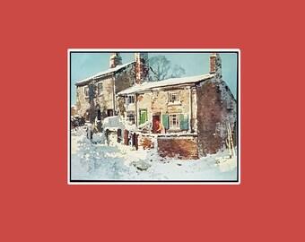 "Vintage Christmas print, ""A village street in winter"""