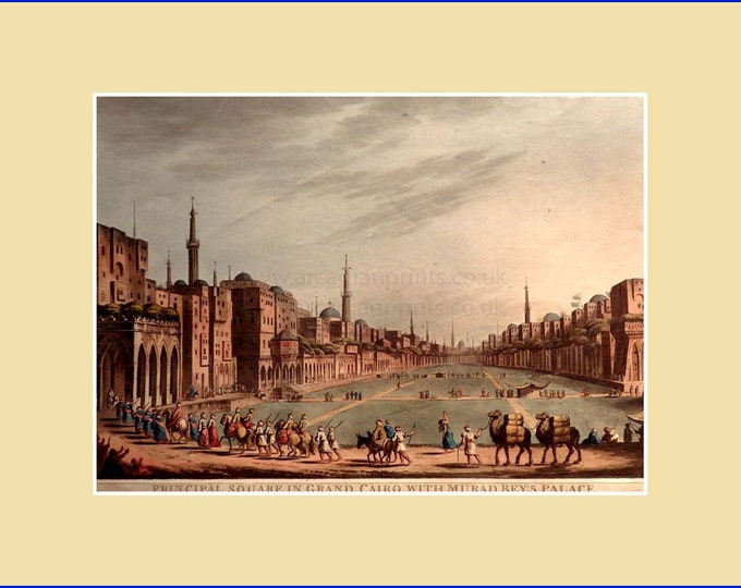 Principal Square in Grand Cairo with Murad Bey's Palace, by Luigi Meyer; aquatint with original hand colouring