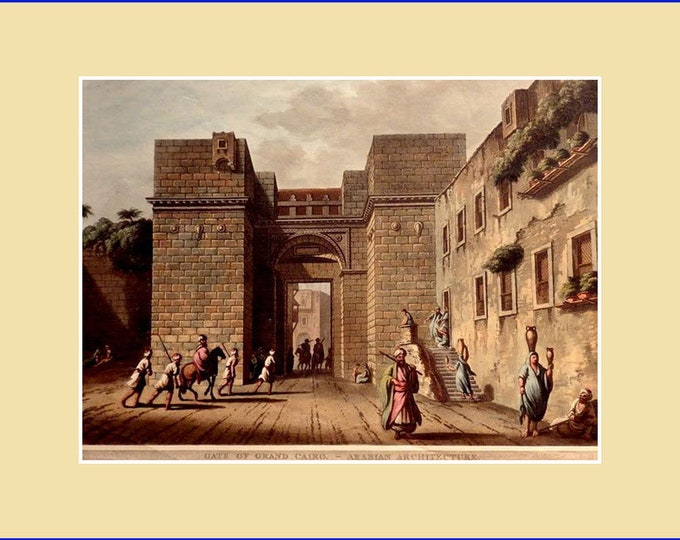 Gate of Grand Cairo, by Luigi Meyer; aquatint with original hand colouring