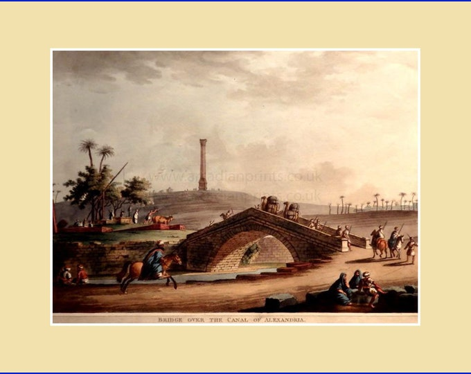 Bridge over the canal of Alexandria, by Luigi Meyer; aquatint with original hand colouring