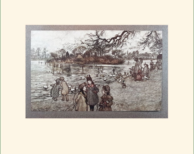 Vintage Arthur Rackham print from Peter Pan in Kensington Gardens