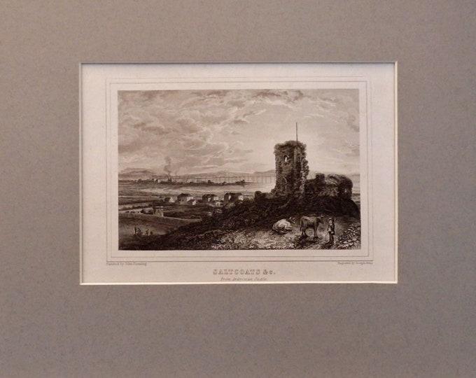 From Ardressan Castle. Steel engraving proof, John Fleming artist,