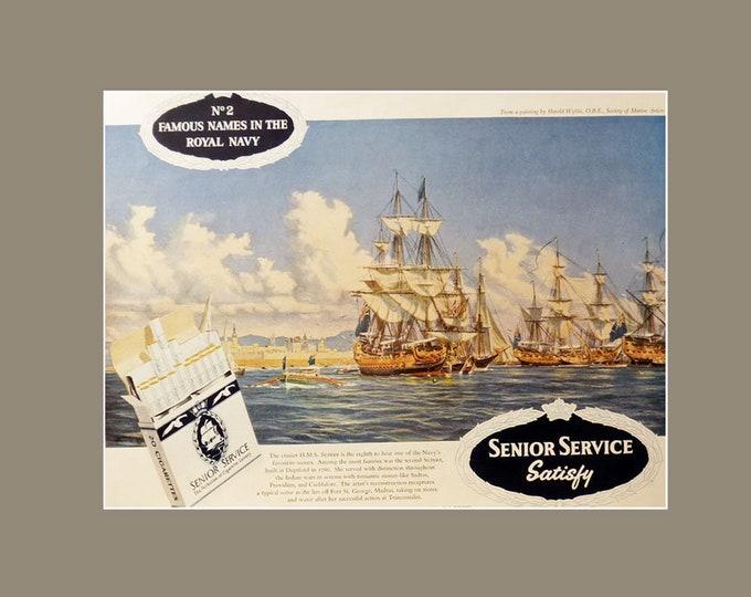 Vintage advertising print: Senior Service Cigarettes