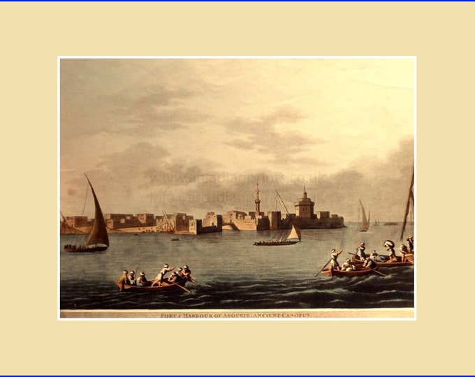 Fort and Harbour of Aboukir, Ancient Canopus, by Luigi Meyer; aquatint with original hand colouring