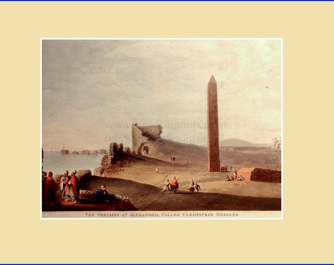 The Obelisks at Alexandria, called Cleopatra's Needles, by Luigi Meyer; aquatint with original hand colouring