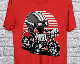 c7da1d3f Café Racer Shirt, Gift for Motorcycle Fans, Vintage Motorcycle Tshirt,  Racing Helmet Cartoon T-Shirt, Red Unisex Graphic Tee