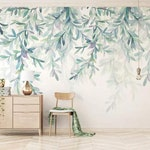 3D Watercolor, Summer, Willow Wallpaper, Removable Self Adhesive Wallpaper, Wall Mural,Vintage art,Peel and Stick